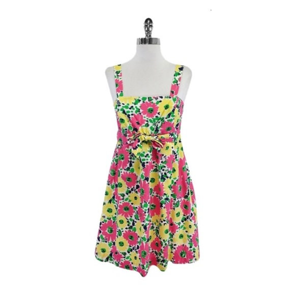 Lilly Pulitzer Dresses & Skirts - Pink yellow & green floral cotton Lilly dress